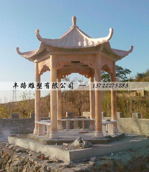 石雕凉亭-晚霞红六角单层石头亭子-大理石走廊