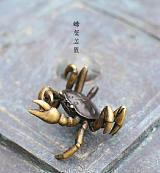 螃蟹壶盖置 日本铜器壶盖托铸铜横财将军招财蟹 创意茶具配件批发;